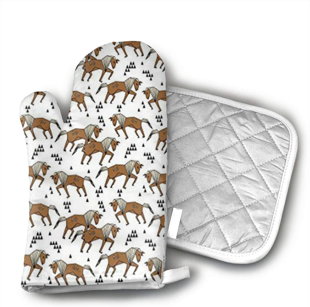 Geo Horse Triangles Kids Horse Brown Oven Mitts,Heat Resistant Oven Gloves,Non-Slip Cooking Gloves,Washable Kitchen Mitts for Baking, Barbecue.
