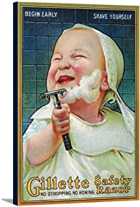 Gillette Safety Razor - Begin Early Shave Yourself (24x36 Gallery Wrapped Stretched Canvas)