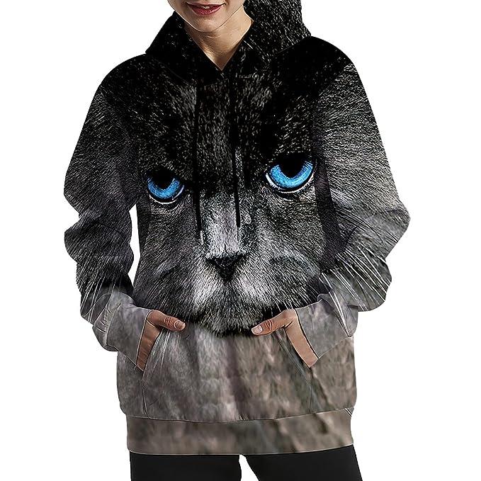 2018 para Niñas Primavera Patrón De Gato De Ojos Azules Suelto Gran Tamaño Suéter con Capucha