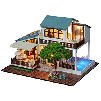 Greencolourful DIY Cottage Hand Assembled Wooden Doll House Innovative Birthday Gift