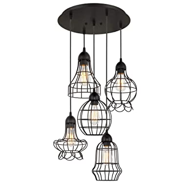Kira Home Wyatt 15 Modern Industrial 5-Light Pendant Chandelier Wire Cage Metal Shades, Adjustable Height, Matte Black Finish