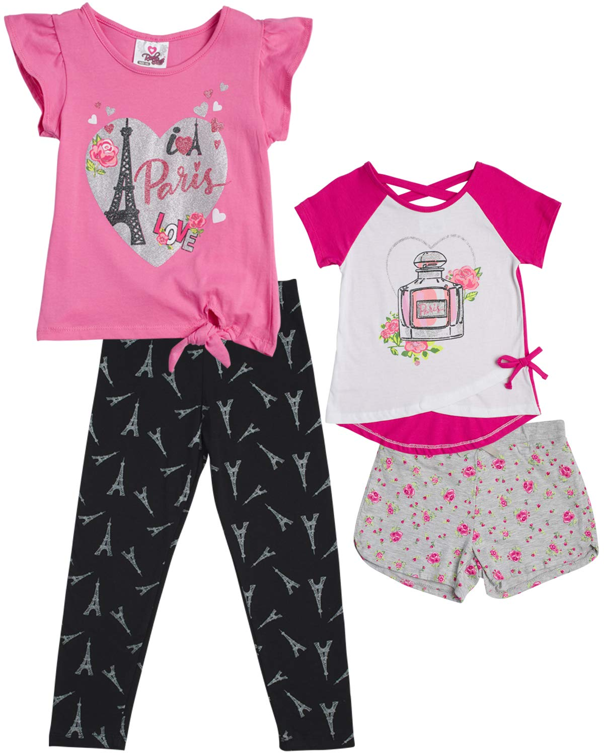 Real Love Girls 4-Piece Summer Legging and Short Set (2 Full Sets), Love Paris, Size 6X'