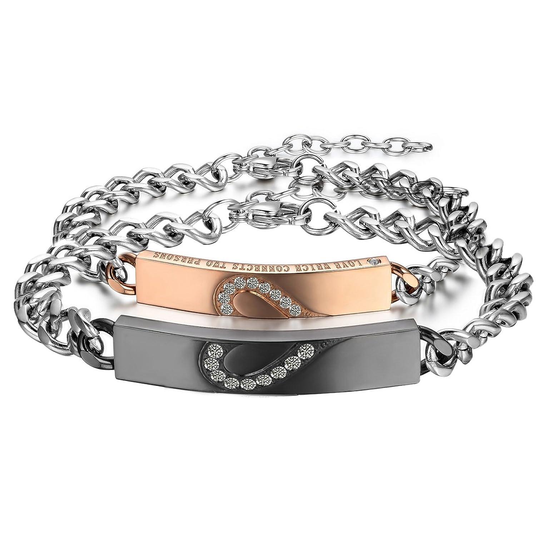 Cupimatch 2PCS Couples Bracelets Set Stainless Steel Love Heart Matching Identification Bangle