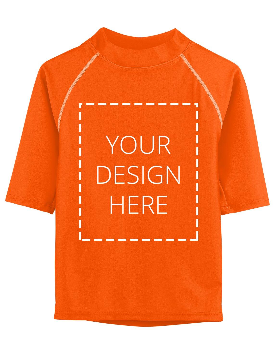Tuga Kids Custom Short Sleeve Rash Guard, Orange, 13/14 yrs