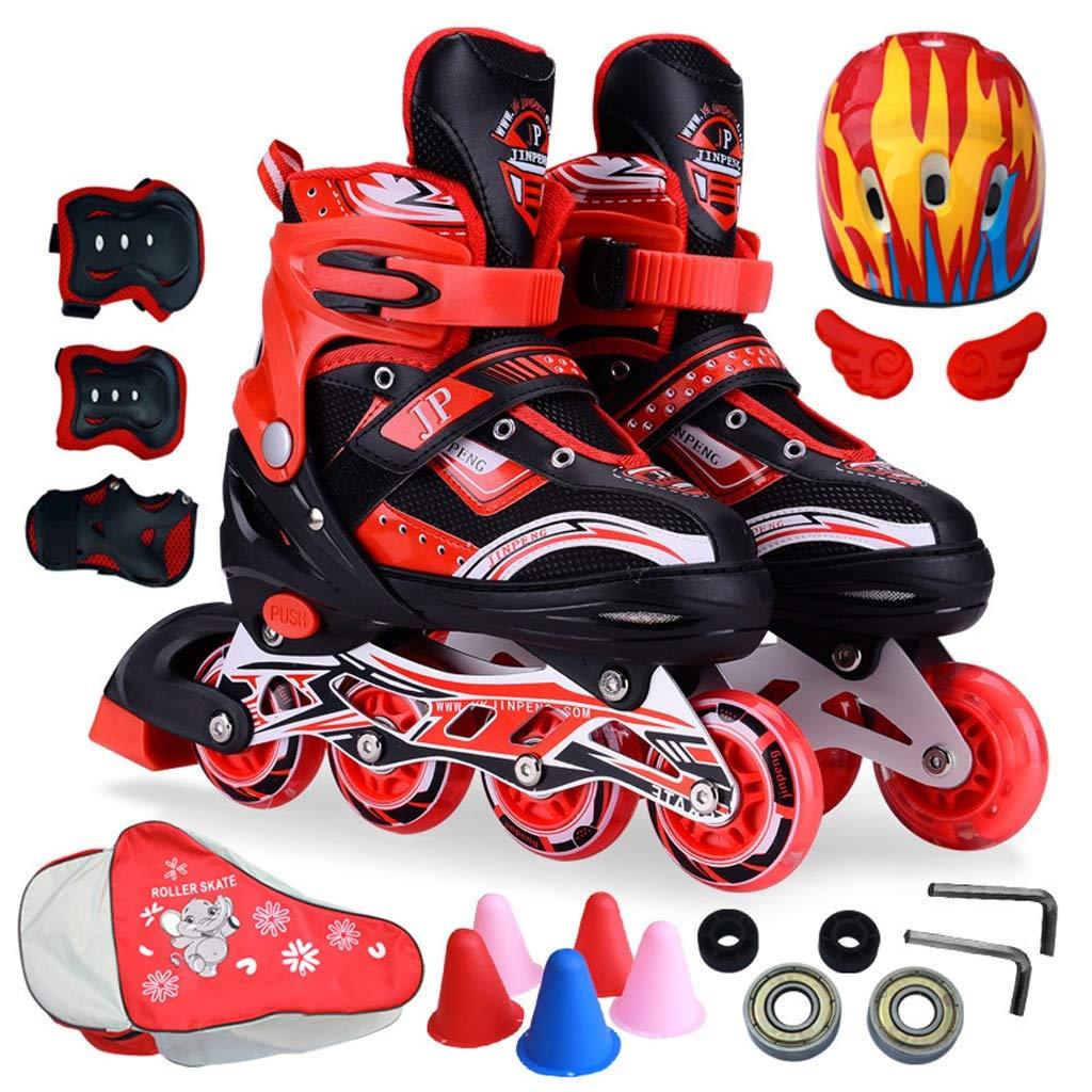 インラインスケート 子供インラインスケート、男性と女性のプロフェッショナル単一行スケート学生スピードスケート靴、調節可能なサイズ、青と赤 (Color : 赤, Size : M (EU 35-38)) 赤 M (EU 35-38)