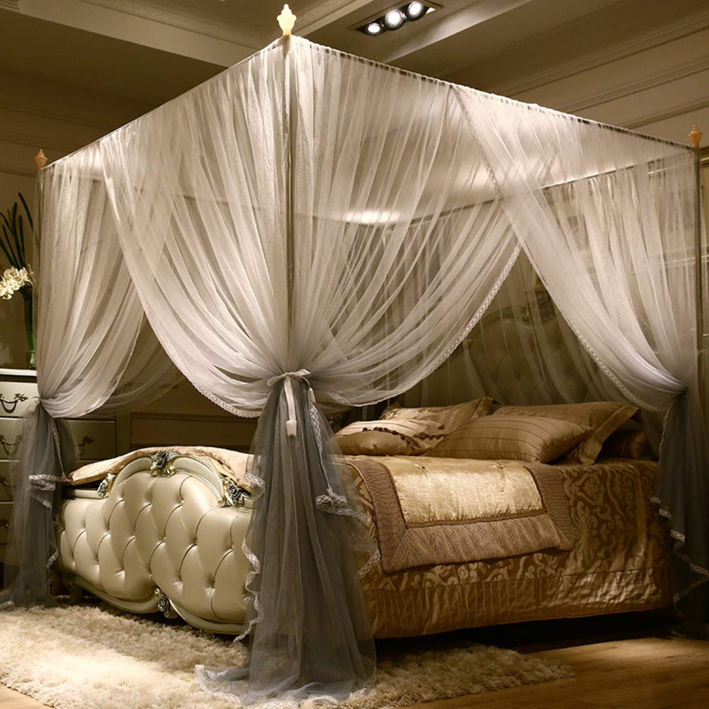 Lace Bed Canopy For Double Bed 4 Corner Mosquito Net Elegant