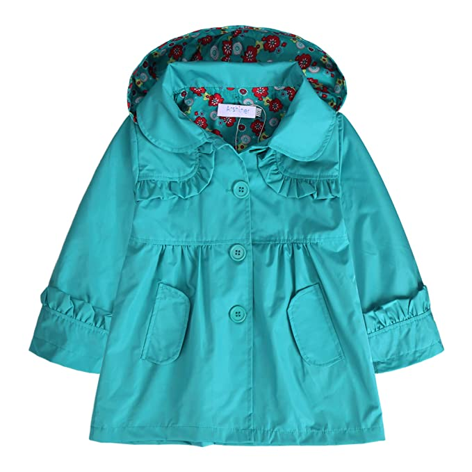 f9f91cb52ac1 Amazon.com  Arshiner Girl Kid Flower Waterproof Hooded Coat Jacket ...