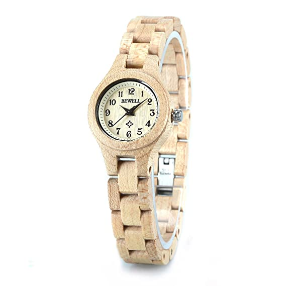 Bewell - Reloj madera Ladies relojes esfera pequeña Casual ...