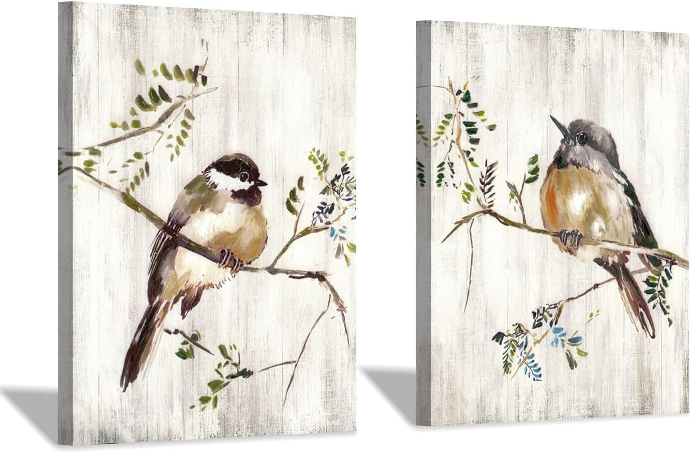"Birds Canvas Wall Art Print: Nature Wild Animal Birds Stand on Twig with Wood Texture Background Picture for Kids Room (24"" x 18"" x 2 Panels)"