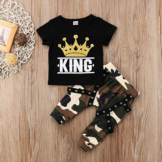 Clothes Outfits Set Toddler Kids Baby Boy Short Sleeve Crown Pattern Shirt Tops