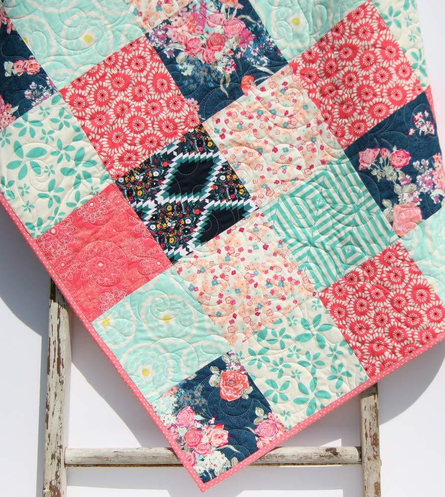 Girl Nursery Bedding Crib Quilt Modern Floral Baby Quilt Baby Girl Quilt Baby Shower Gift