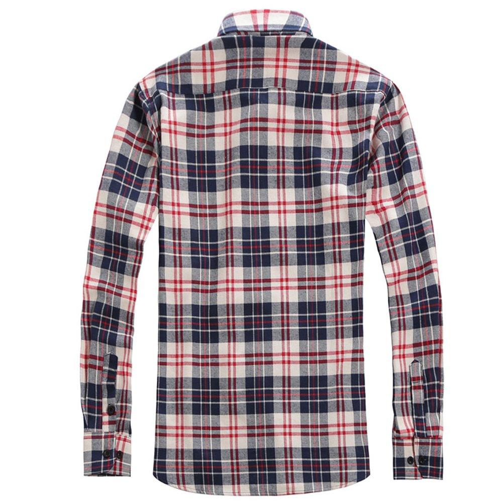 2d7fcba2fd149 OCHENTA Men s Long Sleeve Plaid Flannel Shirt  Amazon.co.uk  Clothing