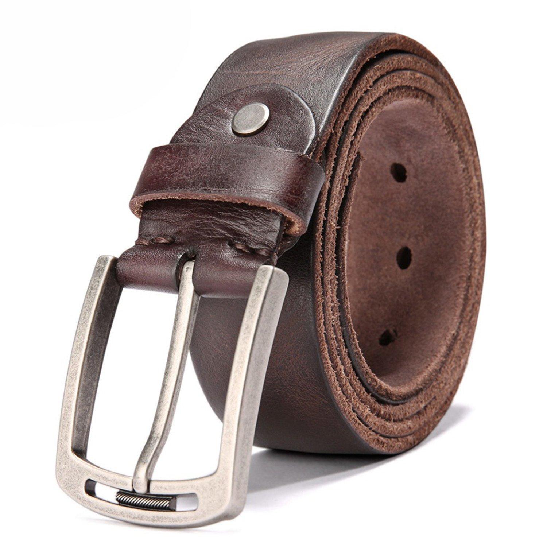 Susan1999 Cow Leather Belt Men 105Cm~125Cm Length Metal Pin Buckle