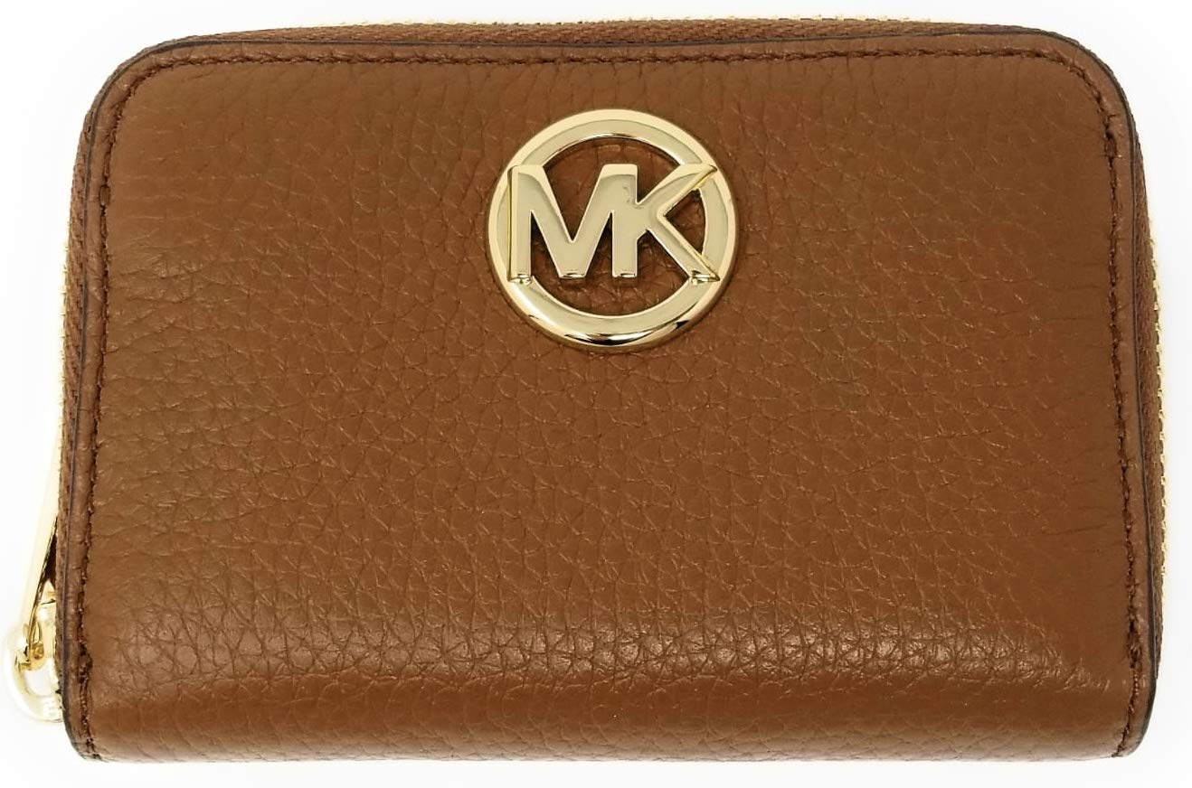 Michael Kors Fulton Leather Zip Around Coin Case (Luggage Brown)