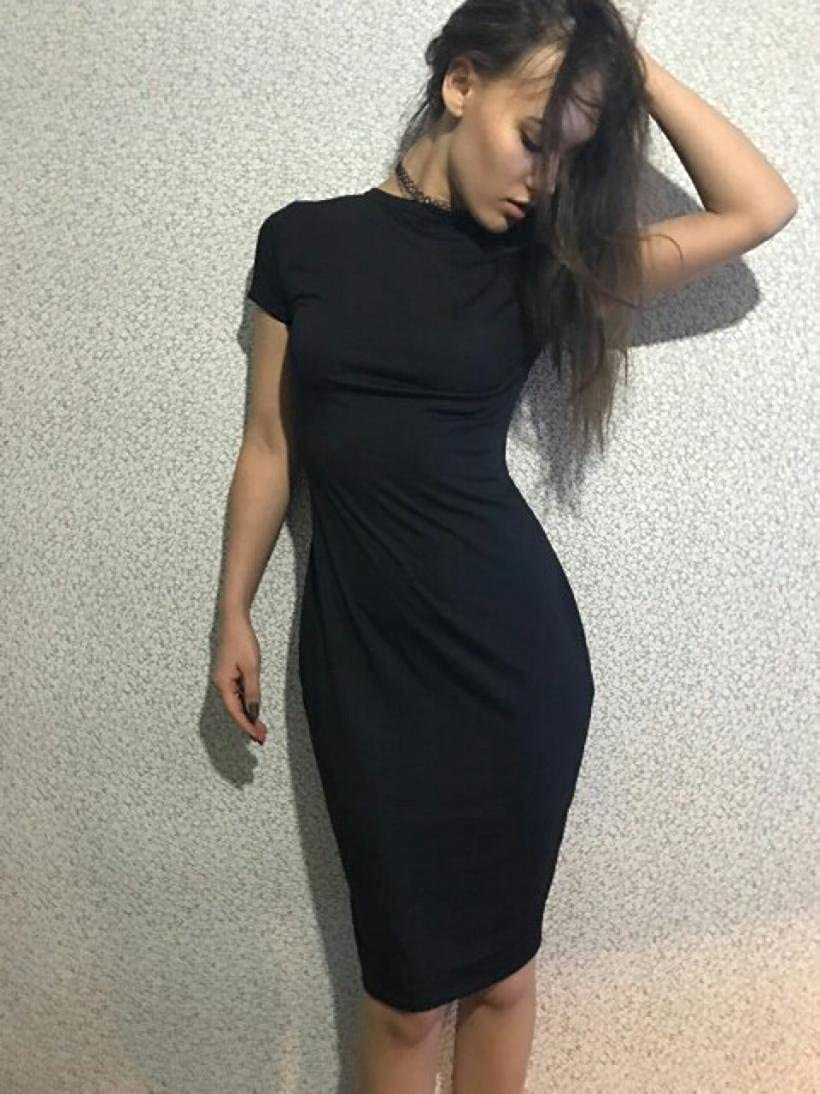 Pengy Women Fashion Sexy Solid Short Sleeve Slim Dress Ladies Bodycon Tight  Shirt Dress Casual Dress at Amazon Women s Clothing store  7c59af311