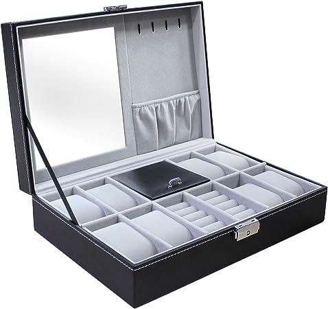 Todeco - Caja de Relojes de Joyería, Caja de Exhibición para Joyero de Relojes - Tamaño: 30 x 20 x 8 cm - Material de la caja: MDF - 8 relojes, joyas y espejo, Gris: Amazon.es: Hogar