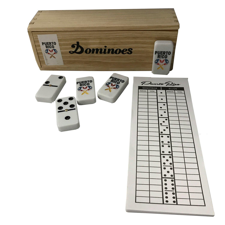 Puerto Rico Double Six Dominoes Maracas Regular Size with Score Pad