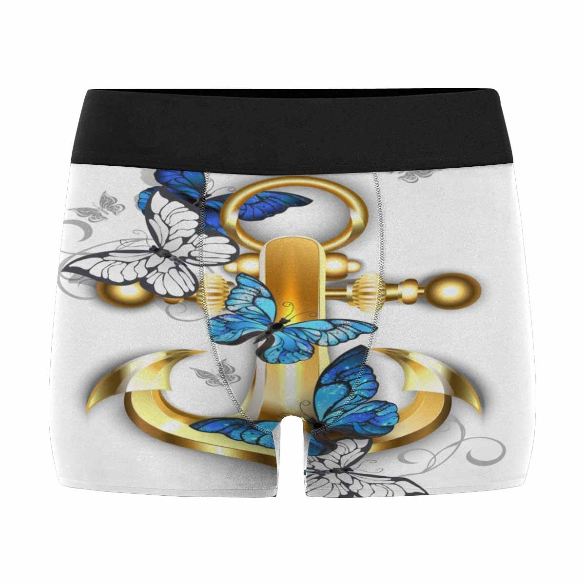 InterestPrint Men's Boxer Briefs Gold, Jewelry Anchor with Morpho Butterflies S
