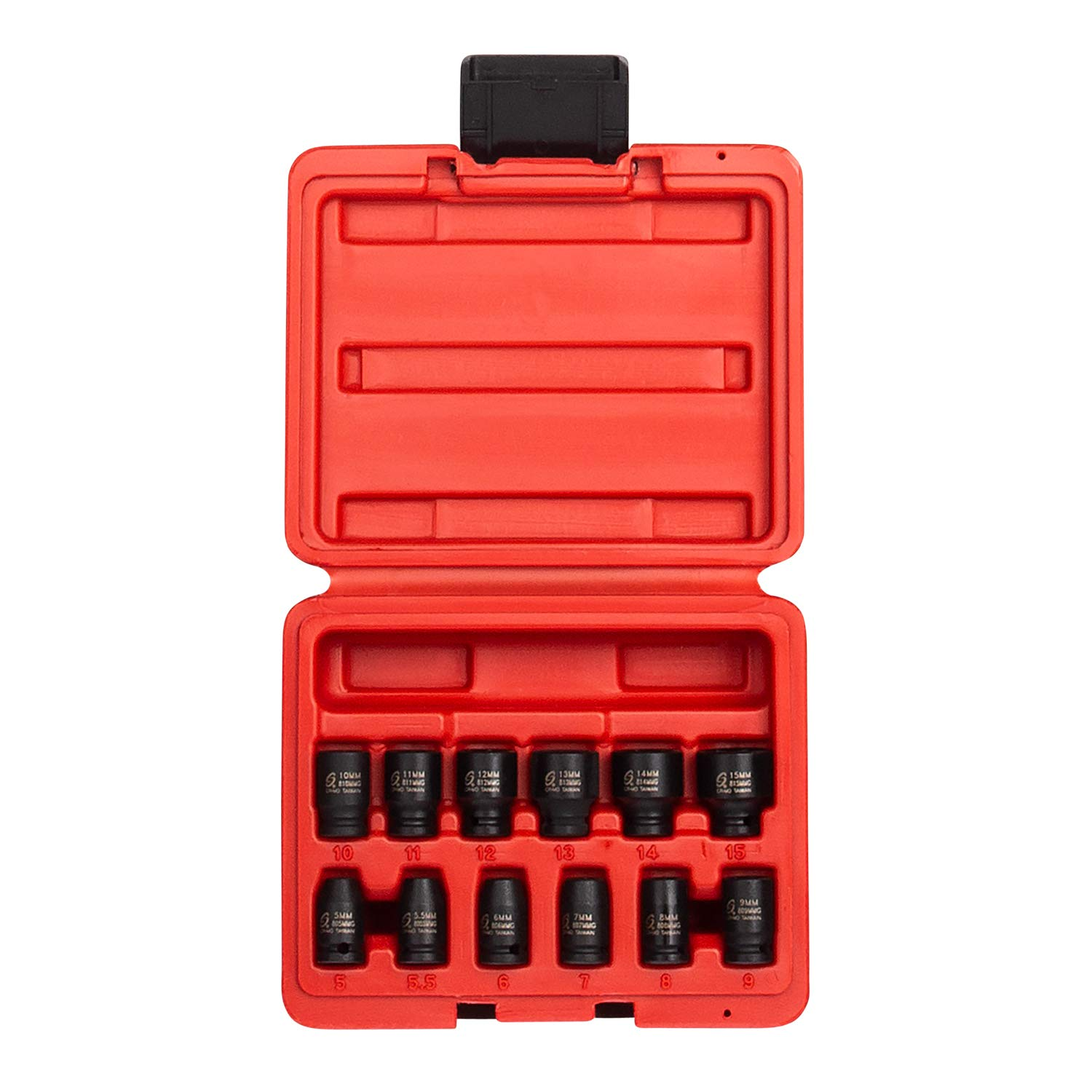 Sunex 1822, 1/4 Inch Drive Magnetic Impact Socket Set, 12-Piece, Metric, 5mm-15mm, Cr-Mo Alloy Steel, Radius Corner Design, Dual Size Markings, Heavy Duty Storage Case