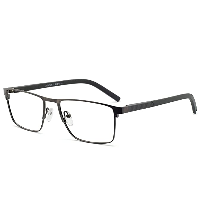fab6d36a5f71 OCCI CHIARI Mens Rectangle Full-Rim Metal Black Non-prescription Clear  Optical Glasses 54mm