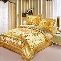 Chinese Style Luxury Satin Wedding Cotton Four-Piece Wedding Bedroom Multi-Piece Gorgeous Gorgeous High-end Quilt Cover Sheet Pillowcase Set