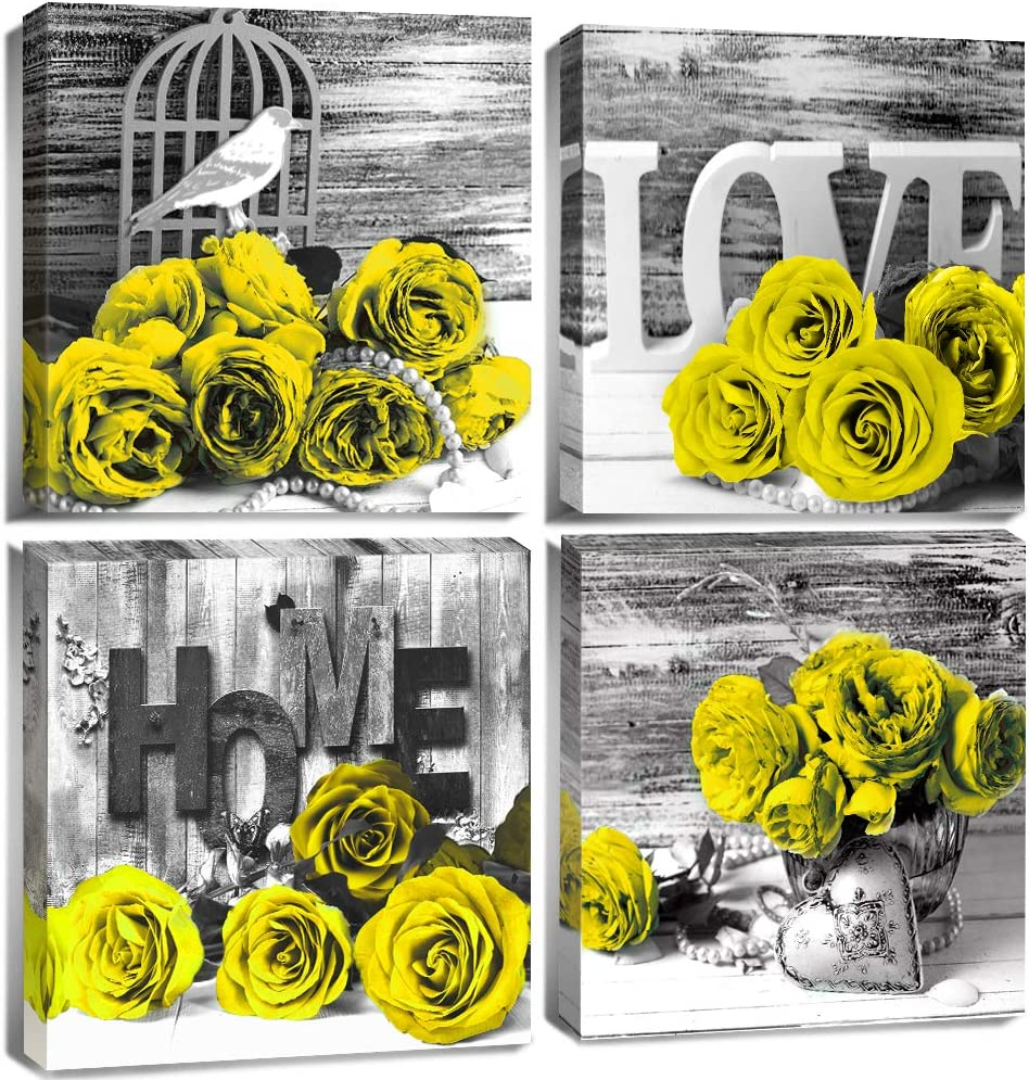 Floral Bedroom Wall Decor for Bright Yellow Rose Wall Art Black and White Bathroom Canvas Prints Still life Flower Wooden Texture Pictures Home Decoration Modern Framed Artwork 12x12 Inch 4 Pcs/Set