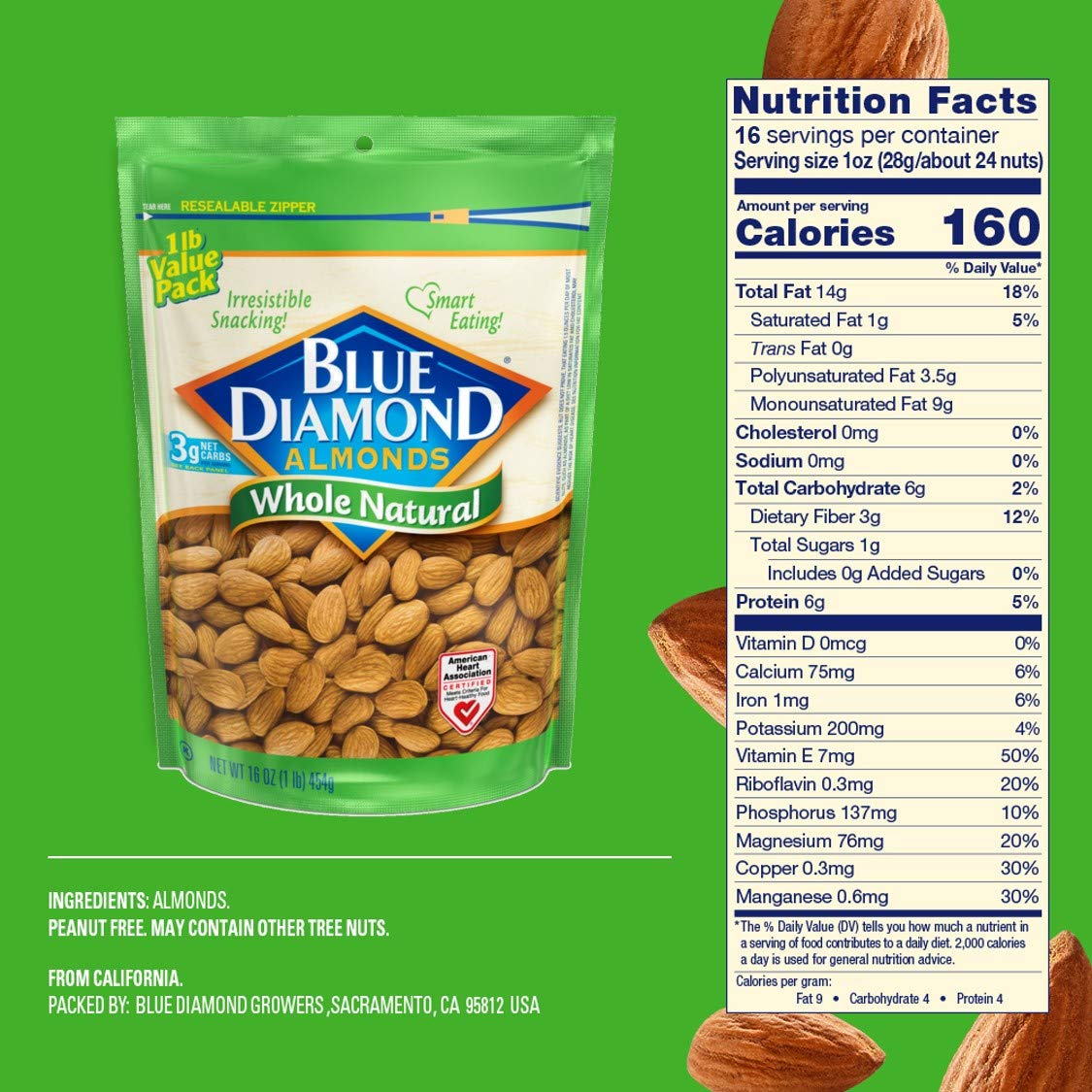 Blue Diamond Almonds, Raw Whole Natural, 16 Ounce by Blue Diamond Almonds (Image #3)