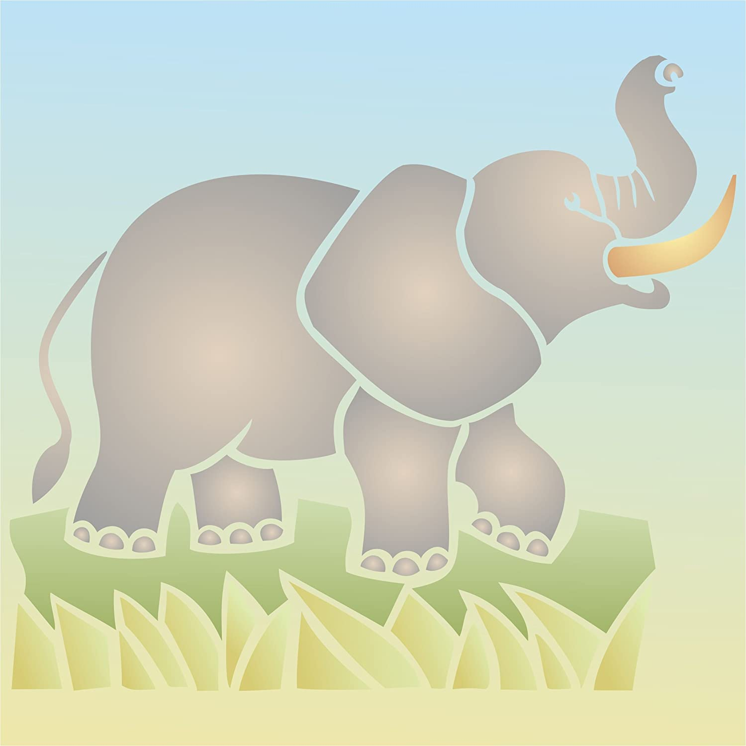 Amazon african elephant stencil size 8w x 7h reusable amazon african elephant stencil size 8w x 7h reusable wall stencils for painting best quality african wild animal ideas use on walls floors amipublicfo Images
