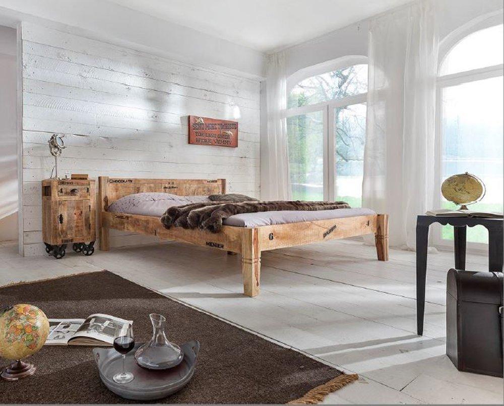 SAM Massiv-Holzbett 180x200 cm Rustic, Mangoholz, antikfinish ...
