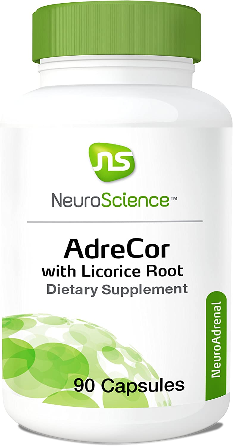 NeuroScience AdreCor with Licorice Root – Adrenal Energy Support Complex with Rhodiola and Histidine to Help Increase Cortisol and Reduce Fatigue 90 Capsules