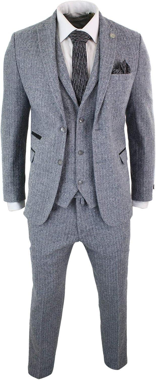 TruClothing Mens Light Grey 3 Piece Tweed Suit Herringbone Wool Vintage Retro Peaky Blinders Grey 44