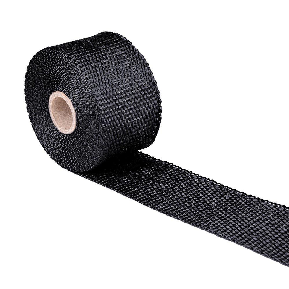 Yescom 2 16.4ft Titanium Exhaust Shield Tape Header Heat Wrap Pipe Insulation Stainless Steel Ties
