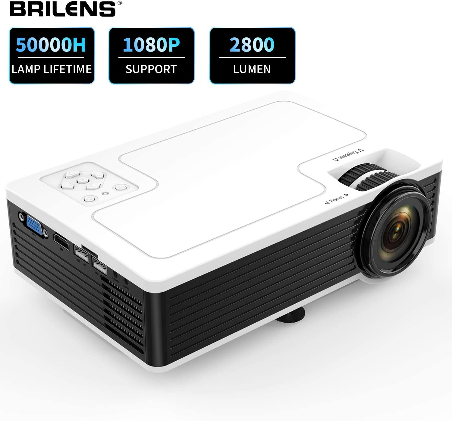 "Movie Projector BRILENS Full HD 1080P Mini Projector LED Portable Home Theater Indoor Outdoor Compatible with HDMI USB VGA AV TV TF 30,000 Hours for Cinema Laptop Game 300"" Image Dispay"