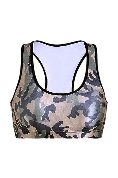 Ropa Interior De Mujer Estampado De Camuflaje Sport Bra Tank Crop ...
