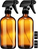 Empty Amber Glass Spray Bottles with Labels (2 Pack) - 16oz Refillable Container for Essential Oils, Cleaning Products…