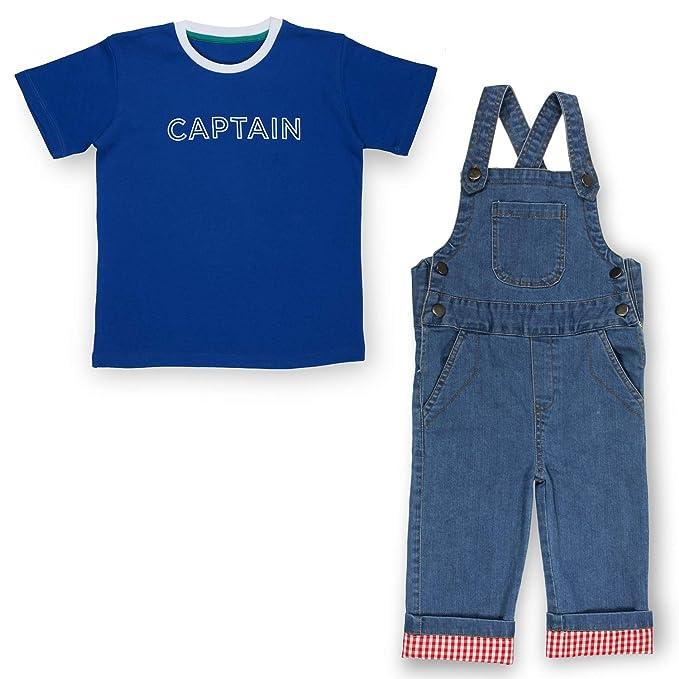 15562fb3c4c Olele® Enzyne Washed Denim Dungaree with Blue Captain Tshirt Combo ...