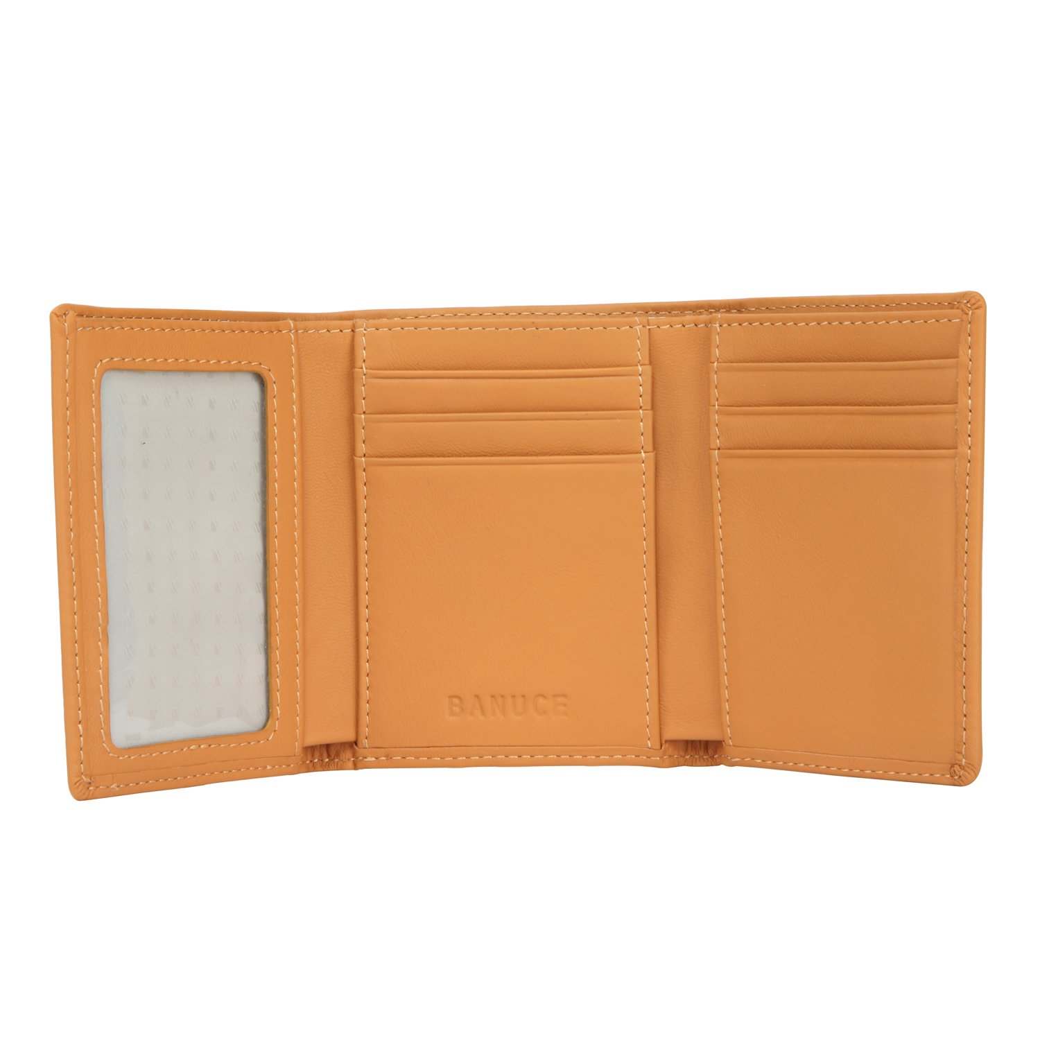 Banuce Women's Full Grains Genuine Leather Slim Small Item Trifold Wallet Color Light Brown by Banuce (Image #7)