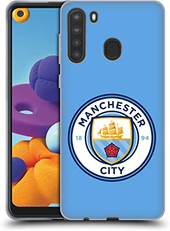 2020 Official Manchester City Man City FC Obsidian Full Colour Badge Geometric Leather Book Wallet Case Cover Compatible For Samsung Galaxy A21s