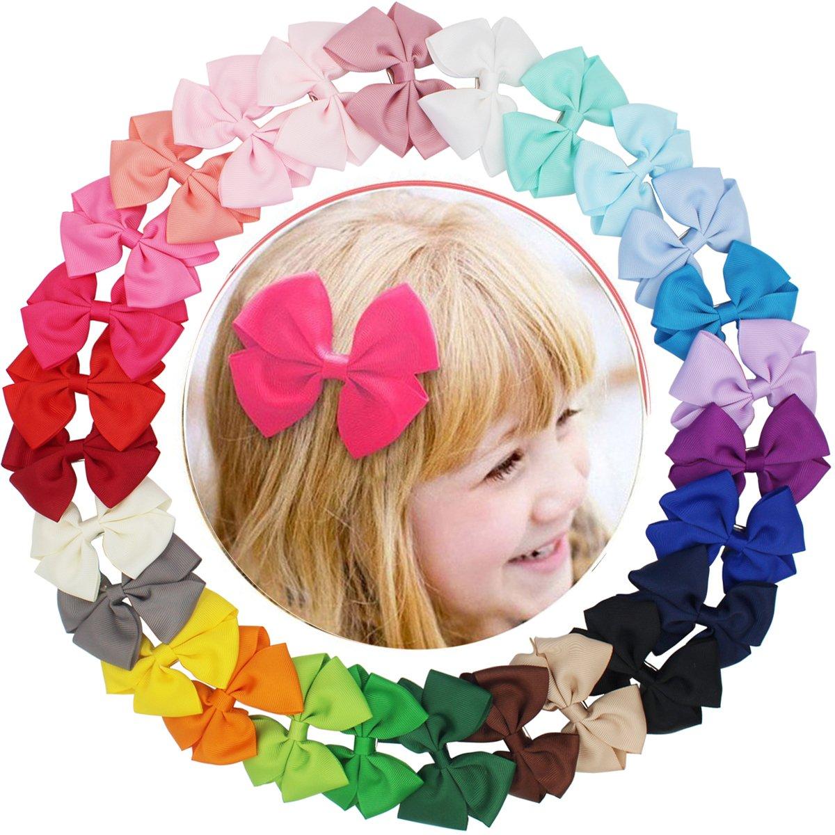 27 lazos de grogrén para niñas y bebés, accesorios para el pelo con pinzas antideslizantes MyLot