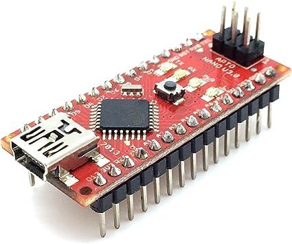 AptoFun Nano V3.0 con Org.ATmega328P / FT232RL Placa de Desarrollo de Chip con Cable USB, Compatible con Arduino (Rojo): Amazon.es: Informática