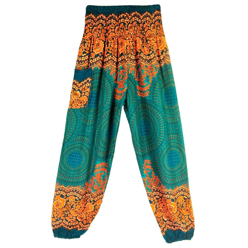 CSSD Men Women Thai Harem Trousers, Boho Festival Hippy Smock High Waist Yoga Pants (Free Size, Green)