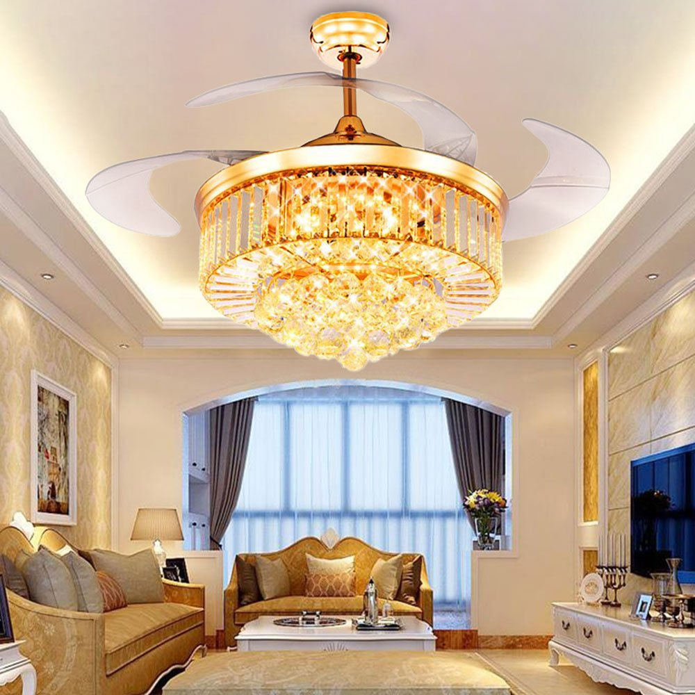 RS Lighting Crystal Ceiling Fan Living Room Fan Lights with Adjustable Transparent Acrylic Blades Led Fan Chandeliers (42 inch)
