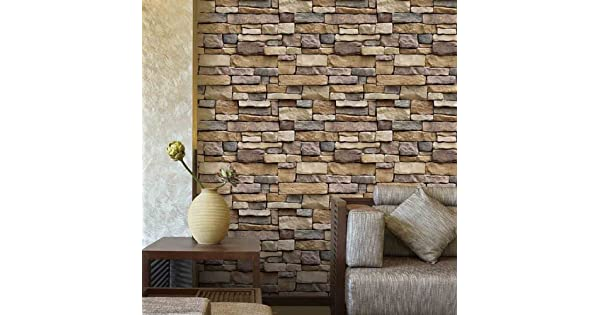 Wallpaper Brick H2MTOOL Removable Self Adhesive Contact Paper Roll For Room Decor 177 X 787