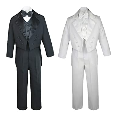 47eee4f4fc7 Amazon.com: MILLTEX 5pc Party Formal Wedding Christening Baby Boy Children  Teen Notch Lapel Tail Black or White Suit Tuxedo Sm-20: Clothing