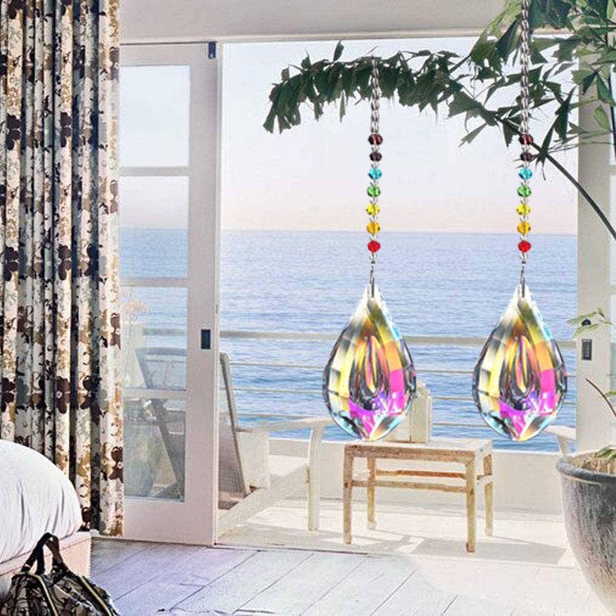 Feng Shui Regenbogenmacher Kristall Kronleuchter Kristall Prismen Anh/änger 76mm Nice Dream Sonnenf/änger mit Kristallanh/ängern f/ürs Fenster Regenbogen