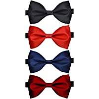 Sorella'z Men's Satin Bowties Black, Red, Navy, Maroon: Pack of 4