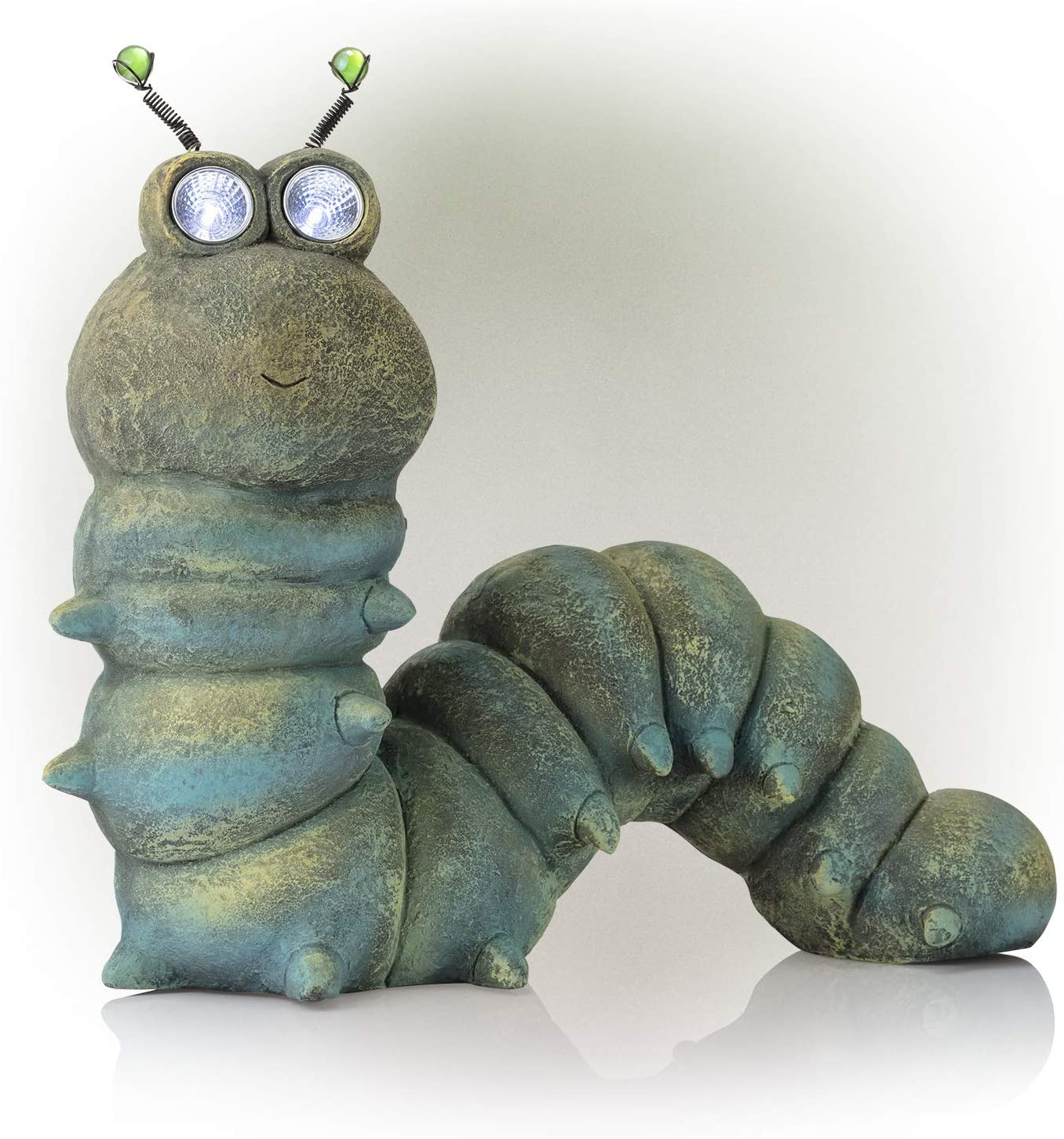 Alpine Corporation Caterpillar Statue with Solar LED Lights - Outdoor Decor for Garden, Patio, Deck, Porch - Yard Art Decoration - 16 Inches Tall