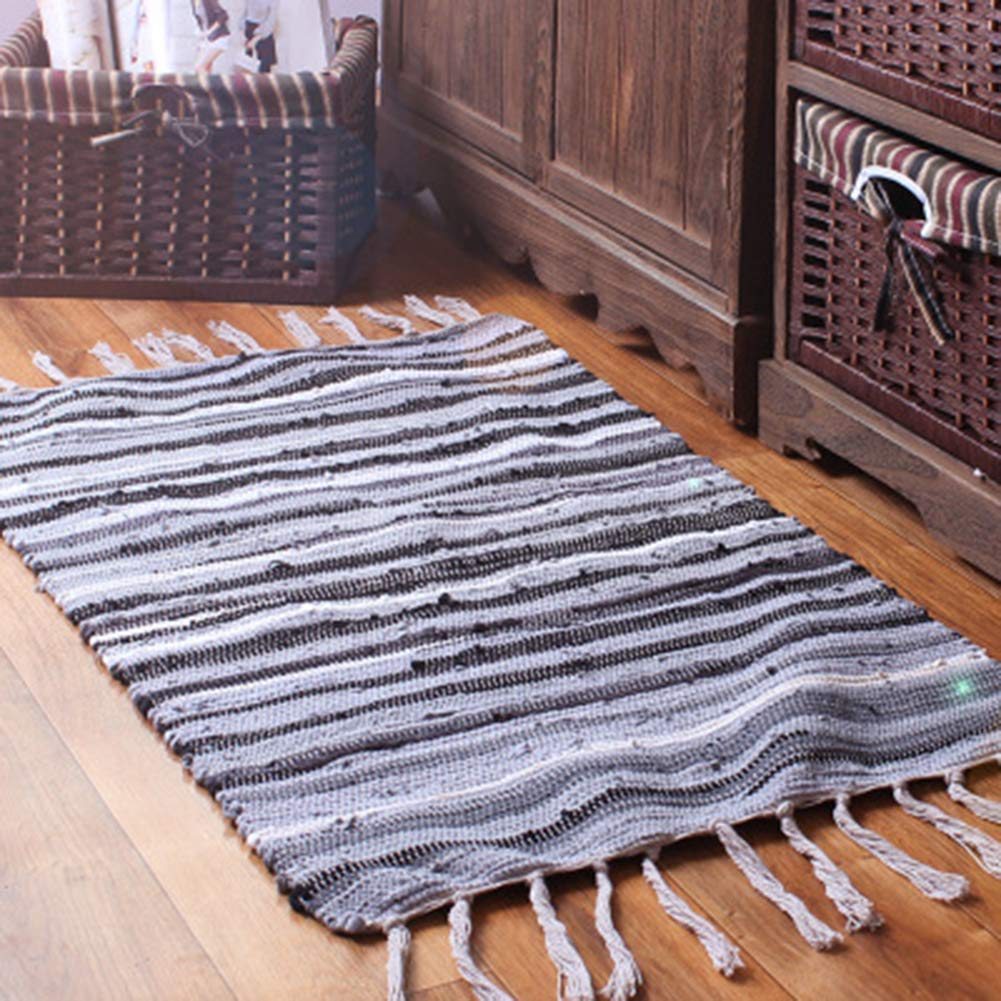 GHGMM Mediterranean Cotton and Linen Stitching Carpet, Household Kitchen Bedroom Bathroom Bathroom Doorway Water-Absorbing Floor Mat, Door Mat,Gray,6090Cm
