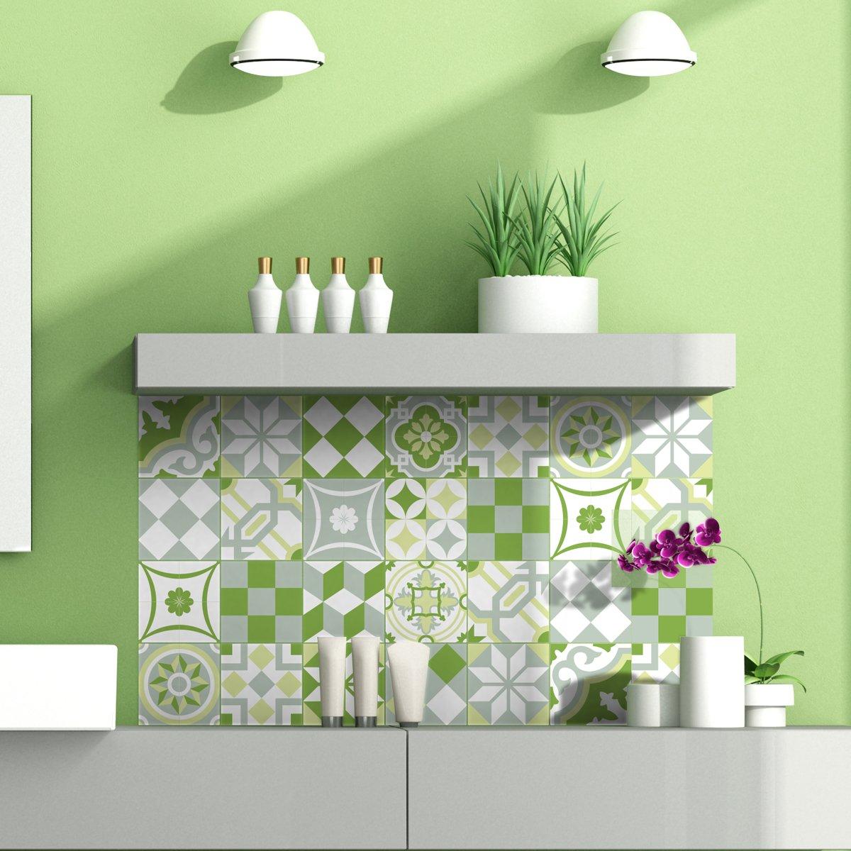 Ambiance-Live 24adesivi adesivi piastrelle | Adesivo Piastrelle–Mosaico Piastrelle a Parete Bagno e Cucina | Piastrelle Adesivo–Patchwork Verde–10x 10cm–24pezzi