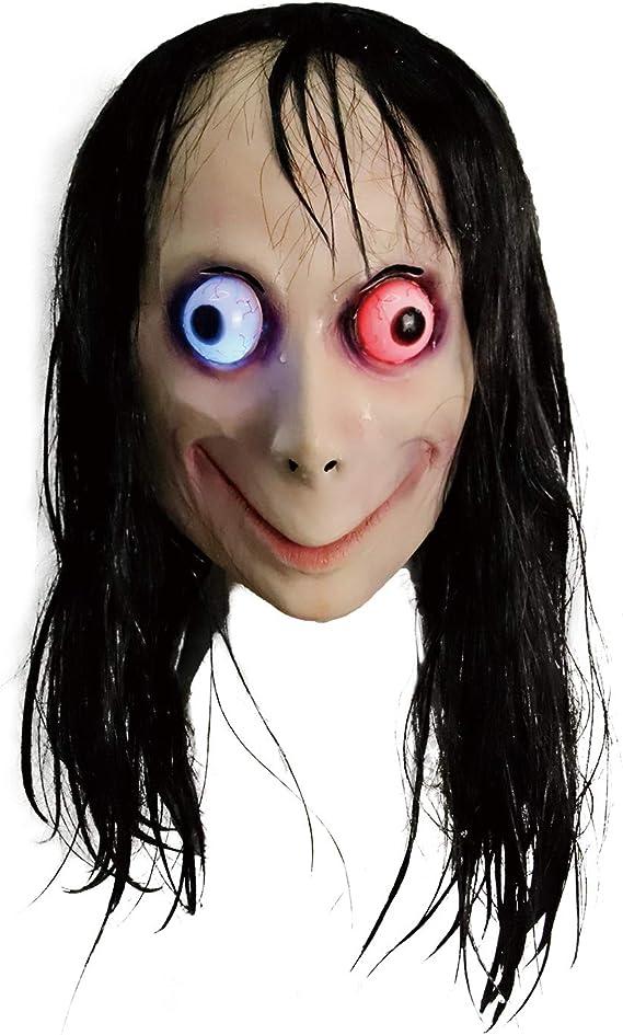 Halloween Horror Mask MOMO Mask Scary Long Hair Evil Plastic mask Creepy Mask